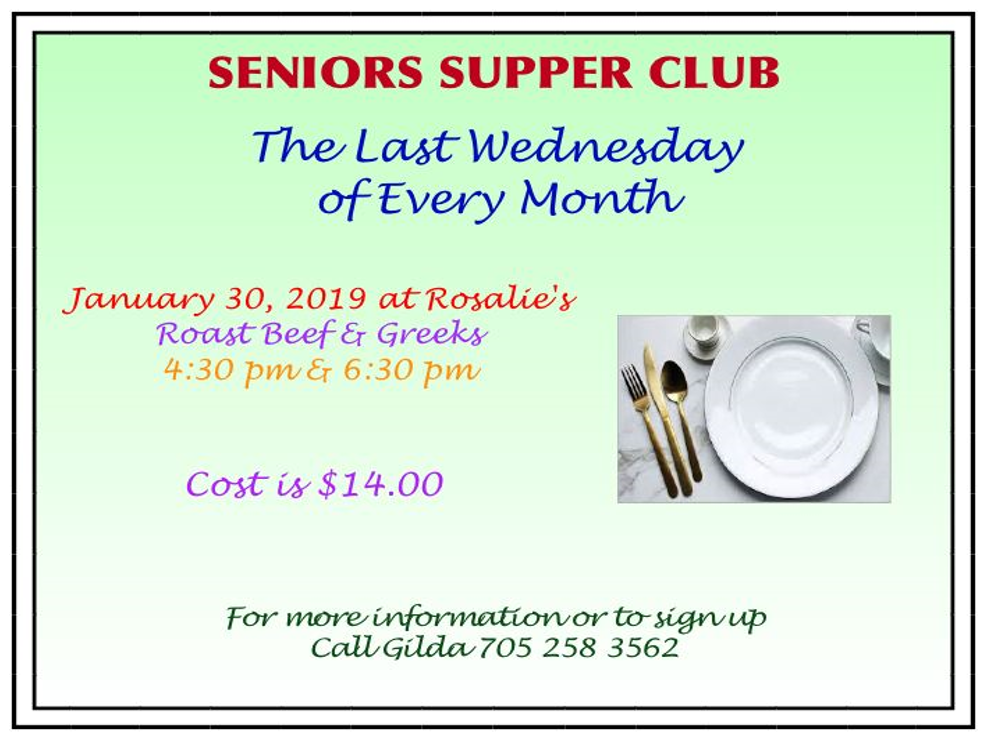 Seniors Supper Club