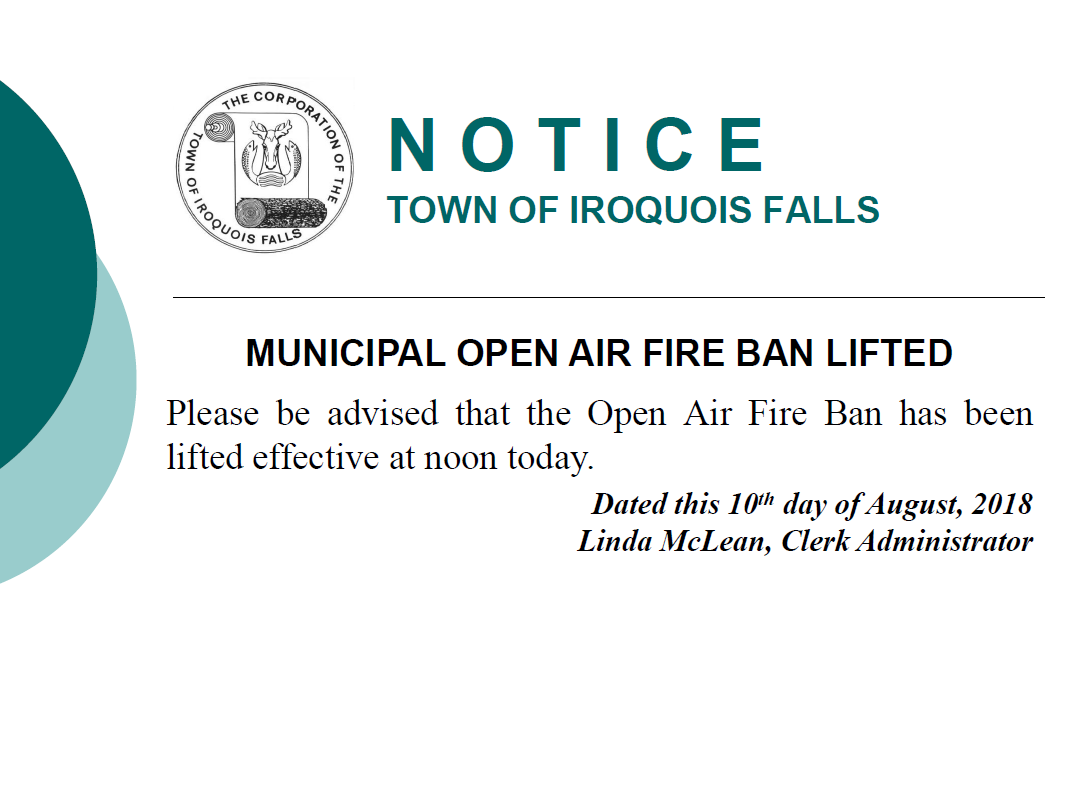 notice-fire ban lifted